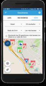 Captura de pantalla del comparador de gasolineras de Parkifast en Rivas Vaciamadrid