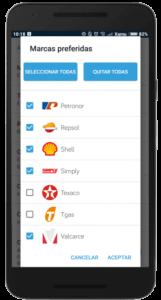 Pantalla de ajustes elección de marcas de gasolineras del comparador de gasolineras de la aplicación Parkifast