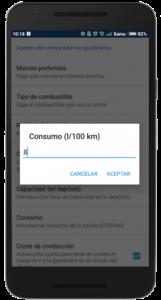 Captura de pantalla de la aplicación Parkifast que muestra la opción de definir el consumo de tu coche para el comparador de gasolineras